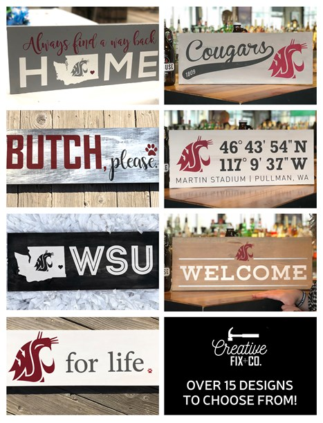 Photos of WSU-themed signs.
